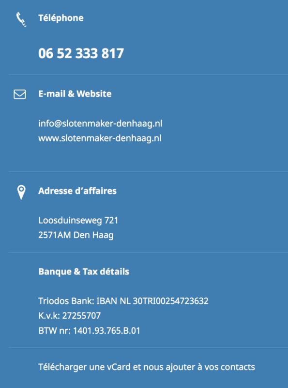 Serrurier La Haye Adresse & Information